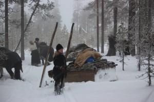 En kort paus innan färden går vidare i snön.